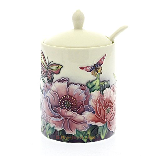 Old Tupton Ware - Butterfly Design - Jam Jar With Spoon