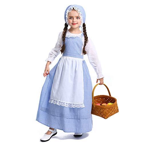 QYS Colonial Pioneer Prairie Historische Kostüme Kleid für Kleinkind, Kind, Mädchen, 4-12 Jahre,L (Kostüm Betsy Kinder Ross)