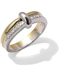 Vintage Bague Femme en Or 18 carats Blanc/Jaune avec Diamant H/SI (total diamants 0.06 ct)