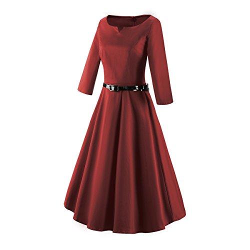 iLover Vintage Hepburn Manches 3/4 pin-up robe 50s 60s de soirée cocktail années 50 à pois WineRed