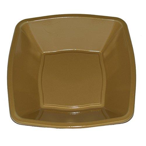 Mashers Quadratisch Party Geschirr in leicht Einweg Kunststoff–Seite/Speiseteller & Suppenteller/Dessert Schalen–10Farben, plastik, gold, 7