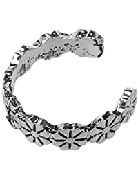 SLB Works 1pc Retro Flower Pattern Adjustable Toe Ring Foot Jewellery Antique Silver W1T6