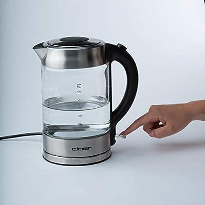 Cloer-4429-Glas-WasserkocherTestsieger-Haus-und-Garten-0220192200-WattLED-Beleuchtungverriegelter-Sicherheitsdeckelverdecktes-Heizelement-17-LiterEdelstahl-17-liters