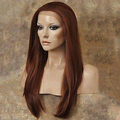 Damenperücke, Kunsthaar, Lace-Front, lang, glatt, natürliches Schwarz, Kastanienbraun
