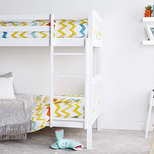 KOSY KOALA WHITE WOOD BUNK BED 3FT SINGLE HEAVY DUTY SPLIT INTO 2 SINGLE BEDS,SHAKER STYLE BUNKBED FOR KIDS CHILDREN,OPTIONS TO ADD UNDERBED DRAWERS AND MATTRESSES
