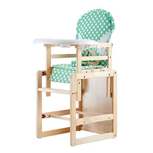 Ergonomique Chaise Haute, en Bois Pliable Multifonction Chaise de bébé avec Plateau de Protection de l'environnement, Hauteur réglable Facile à Nettoyer