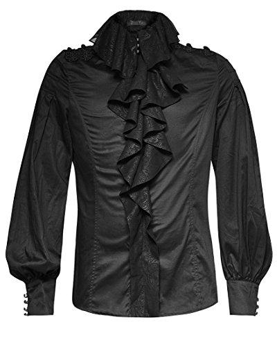 Camicia nera aristocratico Elegante a jabot maniche palloncini gotico Steampunk Punk Ra nero Uomo XXL