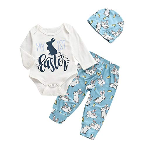 Langarm-Shirt Cartoon Osterhase Outfits Strampler Hut Hose Set(Weiß,Höhe100) ()