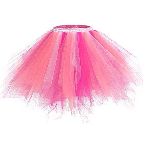 Femme Vintage Ballet Miniskirt Tutu Elastique Mini Robe au Genou Pettiskirt Princesse Bouffée PlisséJupe à Bulles Z Multicolore M