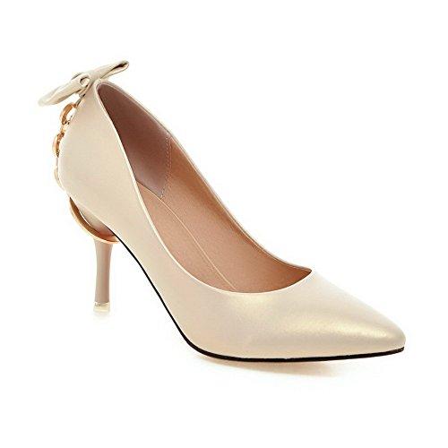AalarDom Damen Stiletto Weiches Material Rein Spitz Schließen Zehe Pumps Schuhe Aprikosen Farbe