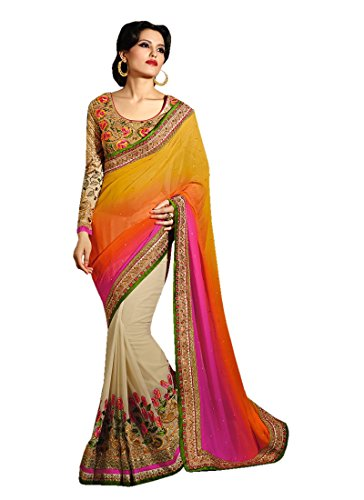 Saree Center Women\'s Georgette Saree With Blouse Piece Material