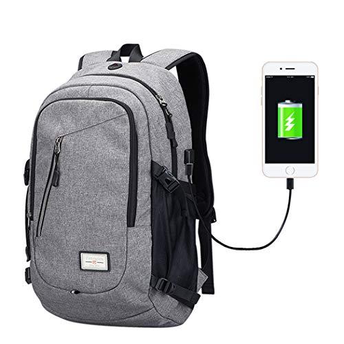 Yogaw Laptop Rucksäcke bis zu 15,6 Zoll Leichte Tagesrucksäcke für Schul Geschäft Mehrzweck Backpack haben USB Kabel und Ladeanschluss - Grau (Wasser Brauch Flasche)