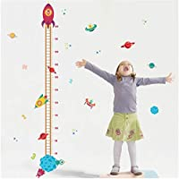 xingtuwaimao Cartoon Outer Space Planet Rocket Growth Chart Wall Stickers For Kids Rooms Home Decor Pvc Height Measure Wall Decals Boy