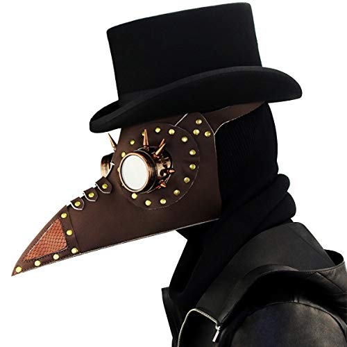 XWQXX Party Geschichte Pest Doktor Vogel Maske Latex Steampunk Halloween Cosplay Kostüm Lange Nase Schnabel Party Dekoration Requisiten,Brown-OneSize