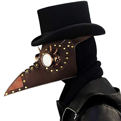 te Pest Doktor Vogel Maske Latex Steampunk Halloween Cosplay Kostüm Lange Nase Schnabel Party Dekoration Requisiten,Brown-OneSize ()