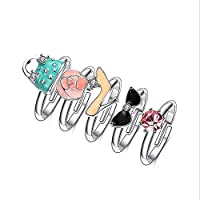 Belingeya-ac Knuckle Rings Rings 5Pcs Exquisite Colorful Girls Knuckle Ring Set Vintage Silver Color Joint Knuckle Mid Ring Set For Women Ladies for Women