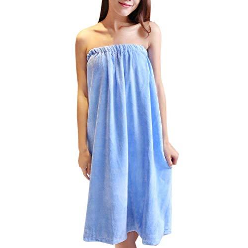 HaiDean Femme Vêtement De Nuit Élégant Peignoir Automne Printemps Mode Confortables Chic Jeune Robe Mini Épaules Nues Encolure Bateau Large Chemise De Nuit Robe (Color : Bleu, Size : One Size)