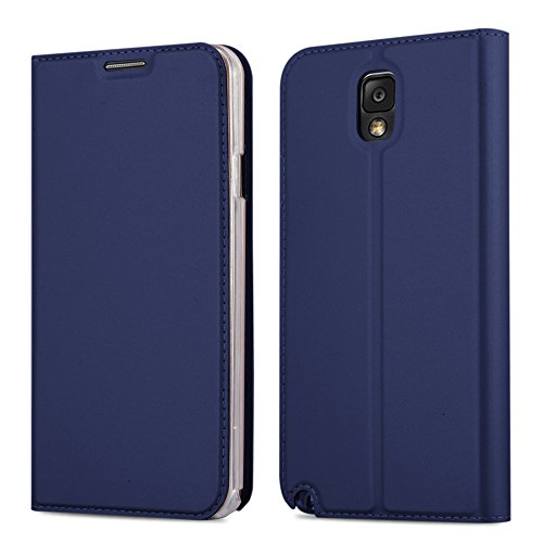 Cadorabo Hülle für Samsung Galaxy Note 3 - Hülle in DUNKEL BLAU – Handyhülle mit Standfunktion und Kartenfach im Metallic Look - Case Cover Schutzhülle Etui Tasche Book Klapp Style