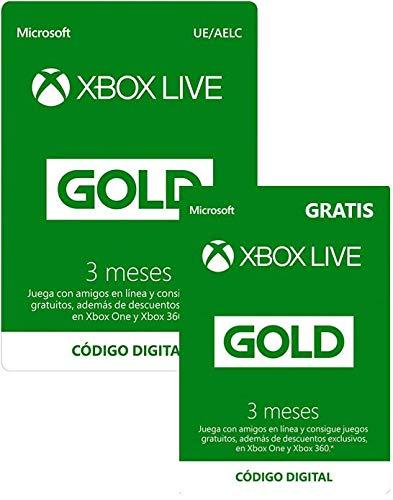 Tarjeta Membresa Xbox Live Gold -  3 Meses + 3 Meses GRATIS | Xbox Live -  Código de descarga