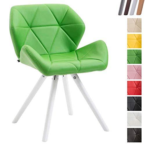 Clp sedia design rétro tyler imbottita in similpelle - poltroncina deco gambe tonde in legno i sedia ospite con schienale verde bianco (rovere)