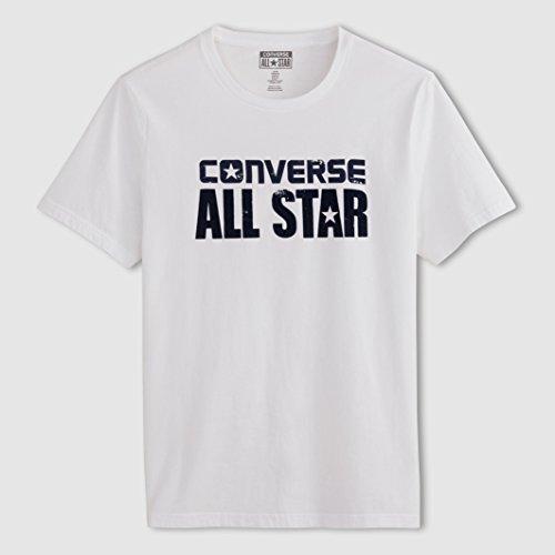 Converse Uomo Tshirt Maniche Corte Taglia 2 Bianco