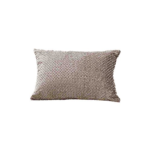 Sienna Glitter Velvet Filled Boudoir Cushion Luxury Shimmer Sparkle – Gold Champagne, 30 x 50cm