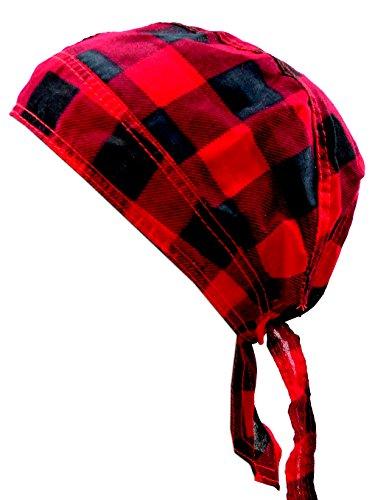 Kopftuch schwarz rot kariert Herren Damen Kopftuecher Punk Rock Bandanas Headscarf Bandannas für Kinder und Erwachsene (KaroRot) 4403