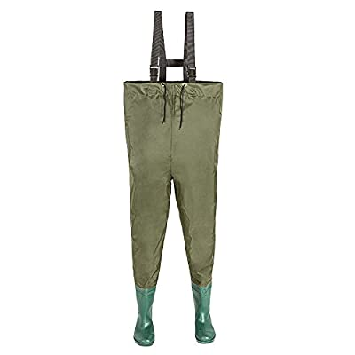 TecTake OLIVE PVC / NYLON CHEST WADERS - different sizes - by TecTake