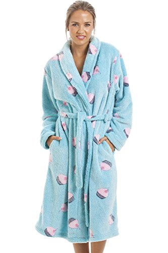 7225c1e78cdaa3 Camille - Damen Bademantel aus superweichem Fleecematerial - Aquablau mit  Cupcake-Motiv