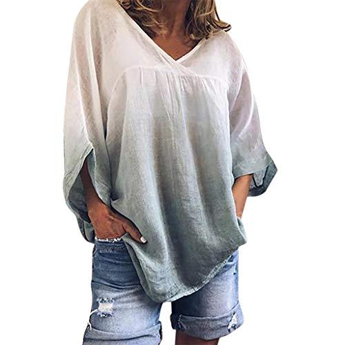 LILIHOT Frauen V-Ausschnitt Fledermaus Ärmel T-Shirt Tie Dyeing Plus Size T Tank Langarm Damen Basic Langarmshirt Elegantes Langarmshirt Freizeit Oberteile Elegant Hemd Tops -