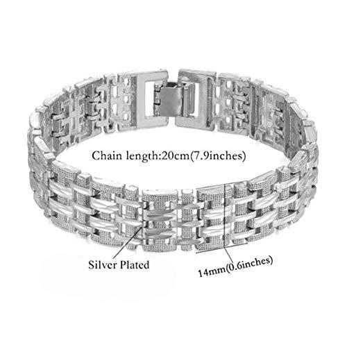 WODESHENGRI Armbänder,Mens Kette Armbänder Männlichen Silber/Gold Colour Chain Bracelet Für Männer Schmuck