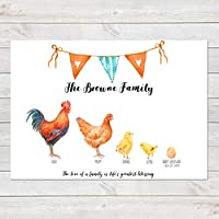 Chicken Family Print, Personalised Wall Art Gift for Home