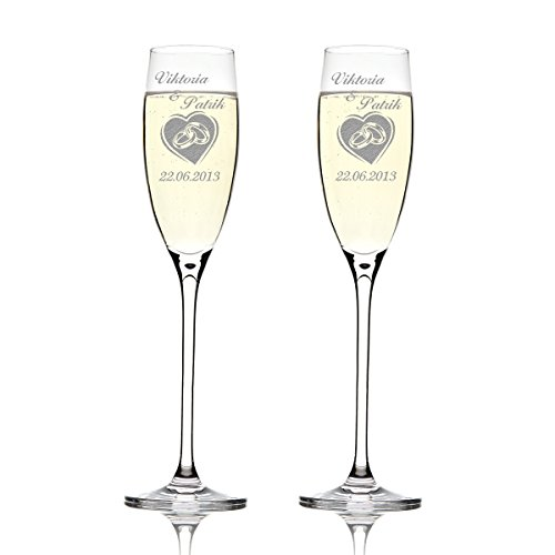 Deux flûtes LEONARDO Cheers Gravure motif : oreilles dans le cœur