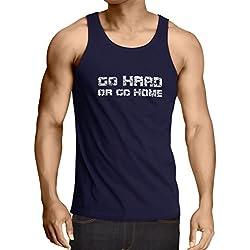 lepni.me Camisetas de Tirantes para Hombre ¡Go Hard or Go Home! - Refranes para Motociclistas, para Ciclistas, para Patinadores, Ciclistas (Large Azul