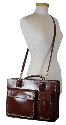 taschenTrend - Lascari elegante Aktentasche Business Bags Glattleder Aktenkoffer DIN-A4 Leder Taschen Damen Herren Umhängetaschen Messenger 12 - 15 Zoll UNISEX 29,5x39x9,5 cm (B x H x T) Braun