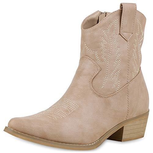 SCARPE VITA Damen Stiefeletten Cowboy Boots Western Schuhe Stickereien Stiefel 174020 Nude 40