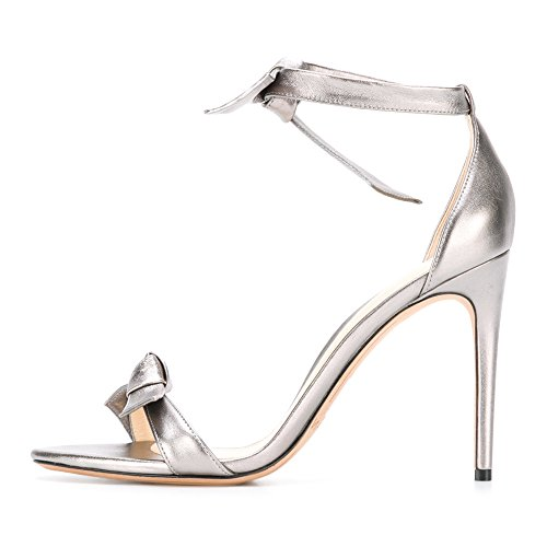 Damen Sandalen Open Toe High-Heels Stiletto Knöchelriemchen Silber