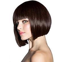 Peluca, pelucas llenas elegantes del pelo de las mujeres, Bob, peluca femenina recta corta del vestido de lujo como pelo verdadero Calidad superior Koffee