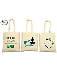 Greenmile Unisex Cotton Shopping Bags Multi-Color (Set Of 3)
