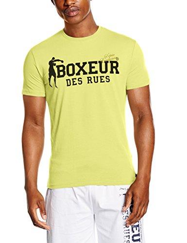 Boxeur des rues sèrie exclusive, t-shirt logo bandiera francese uomo, giallo (fluo yellow), l