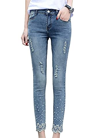 DQQ Women's Beaded Lace Midrise Washed Denim Skinny Ripped Jeans UK 16 Blue