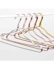 Exelcius Non Slip Coat Hanger Dry and Wet Dual Purpose Metal Clothes Rack Prevent Clothing Deformation Hangers GoldColors Pack of 30