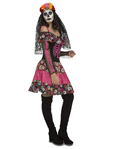 Adulte Kostüm Halloween Femme - Generique - Dia de los Muertos-Damenkostüm Halloween-Kleid bunt M / L