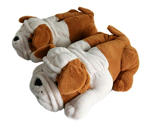 Fuzzy Winter Animal Slippers for Men and Kid, Bull Dogs