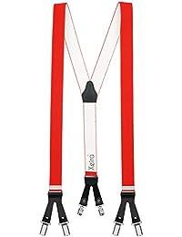 Xeira® Bretelles de haute qualité avec 6 clips - XXXL 140cm (Bande longueur) - Motif de Cuir - Fabriqué en Allemagne