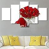 kesfh 5 Pezzi HD Stampe su Tela Immagini artistiche di Quadri Poster Bouquet di Rose Rosse Dipinti Soggiorno di San Valentino Poster Case Decori-Frame