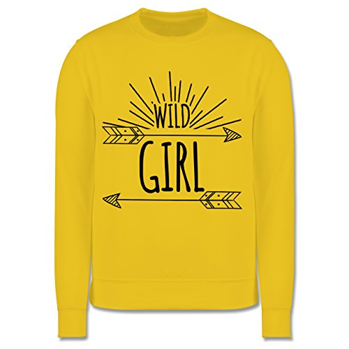 Shirtracer Up to Date Kind - Wild Girl - 7-8 Jahre (128) - Gelb - JH030K - Kinder Pullover (American Girl Doll Jumper)