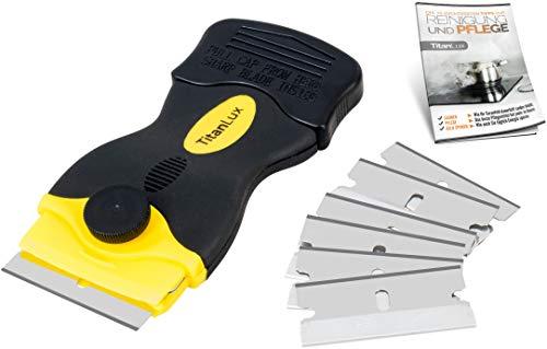 Rasqueta profesional para vitrocerámica con cuchillas de acero inoxidable, original TitanLux, |limpiador de vitrocerámica, rascador de placa de cocción, rasqueta, rascador vitrocerámica