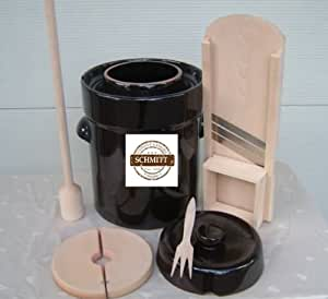 MS-Steinzeug - Set per fermentazione: pentola per fermentazione (5 l), grattugia, pestello, forchetta