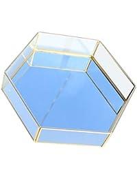 Decorative Tray - Modern Glass Jewelry Storage Organizer Perfume Organizer Makeup Tray